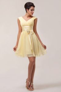 Short canary yellow bridesmaid dress | Bridesmaid dresses ...