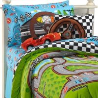 Race Cars Racetrack Boys 3pc Twin Comforter Set   Joshua's ...
