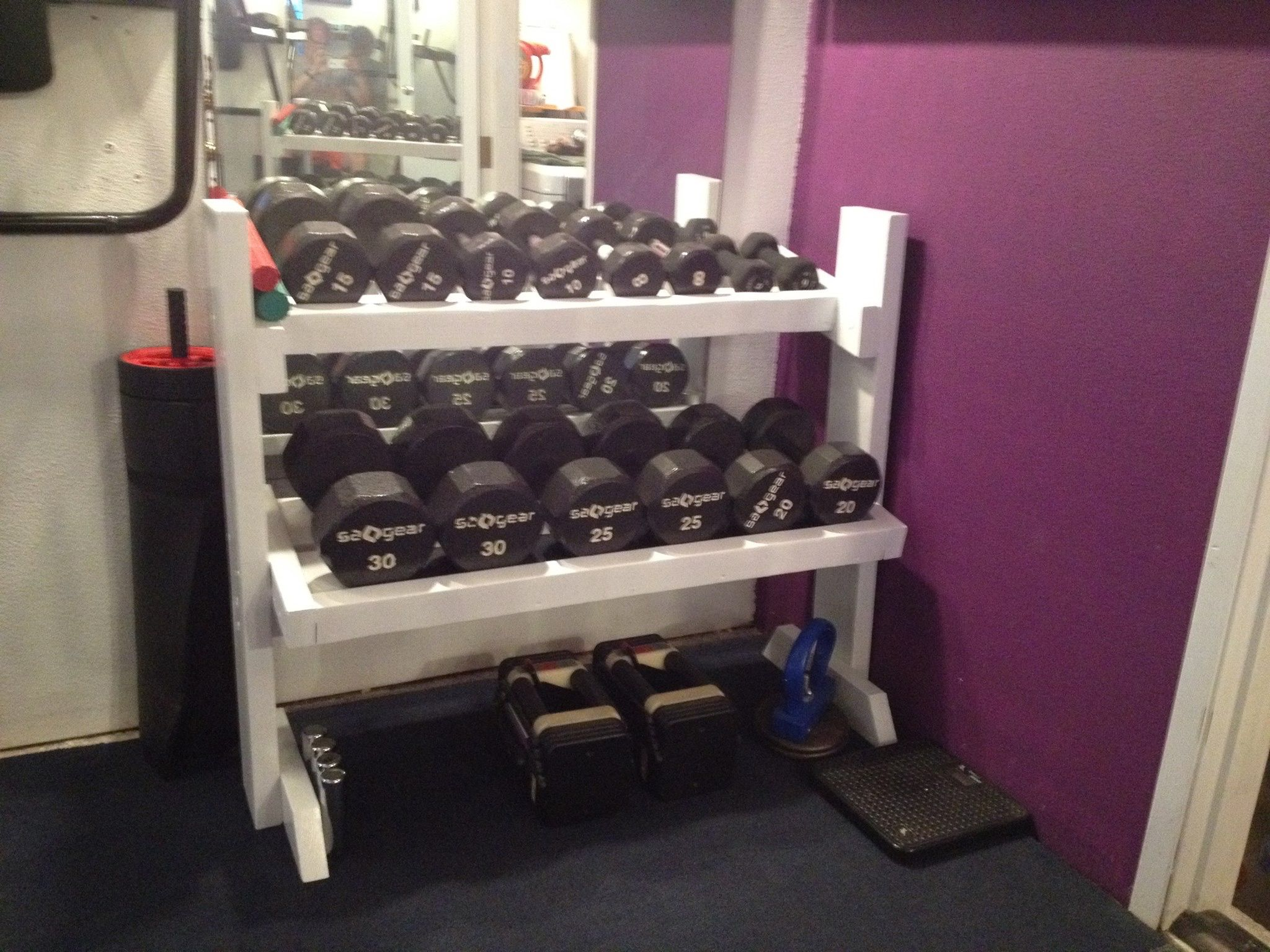Diy Garage Gym Equipment Diy Dumbbell Rack Ideas For The House Pinterest