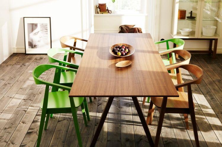 rechteckiger Esstisch aus Nusbaumfurnier mit Beinen aus massiver - ikea esstisch beispiele skandinavisch