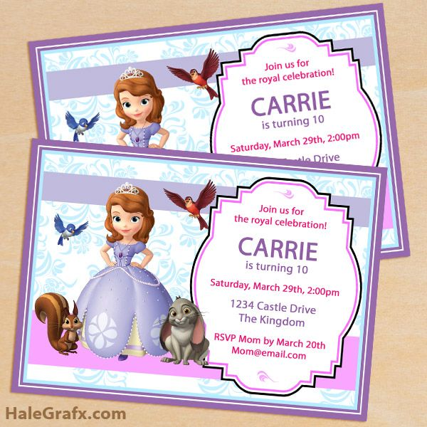 FREE Printable Sofia the First Birthday Invitation Pack Disney - free first birthday invitation template
