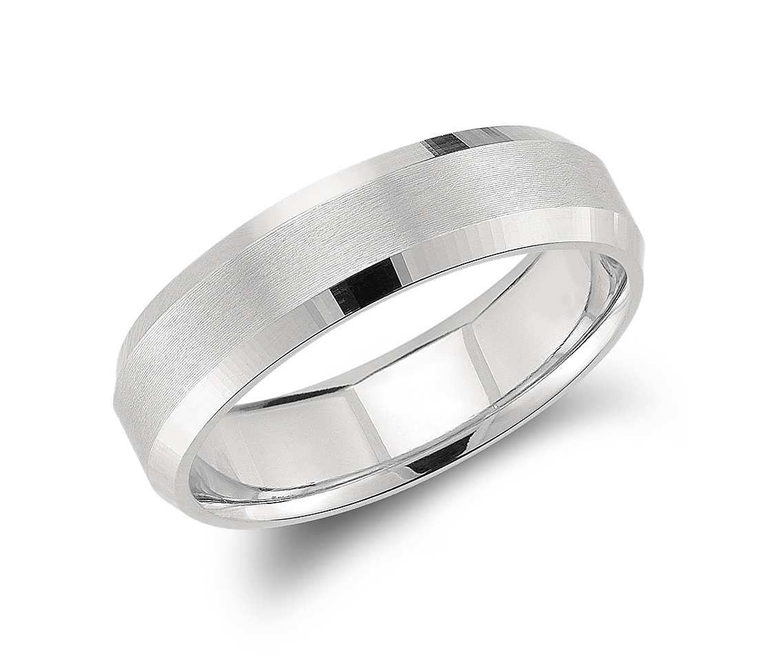 mens platinum wedding bands Beveled Edge Matte Wedding Ring in Platinum 6mm