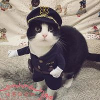 Funny Halloween pet cat dog police costume cosplay with ...