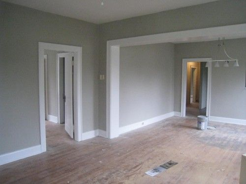 grey walls white trim wood floor LOVE THIS Wohnzimmer - mindful gray living room