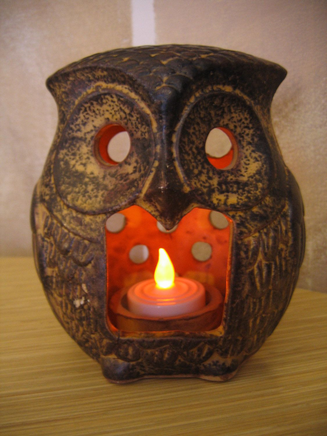Pottery Owls For Sale Sale Retro Clay Pottery Owl Candle Tea Light By