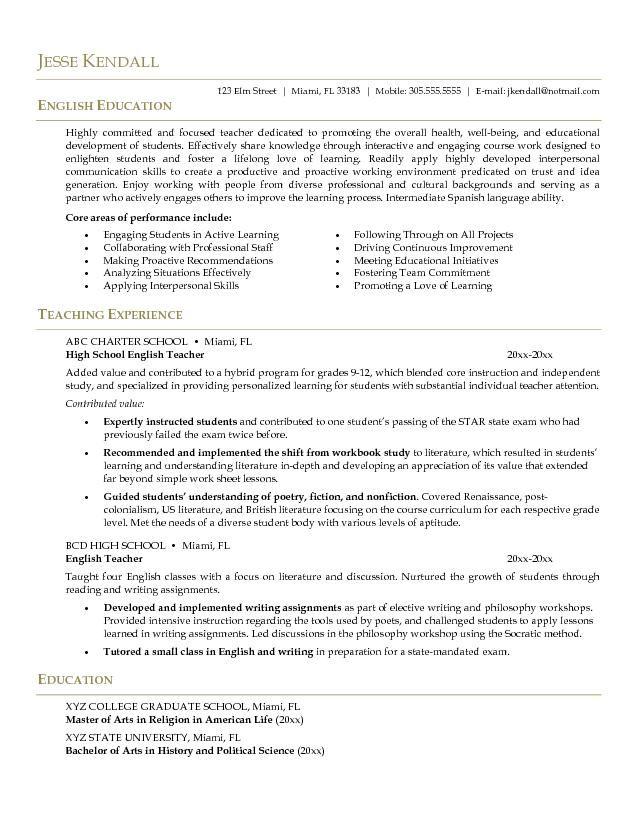 Example English Teacher Resume CV style Career Pinterest Cv - examples of teacher resume