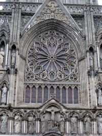 Nidaros Cathedral, Trondheim, Norway, Rose window outside ...