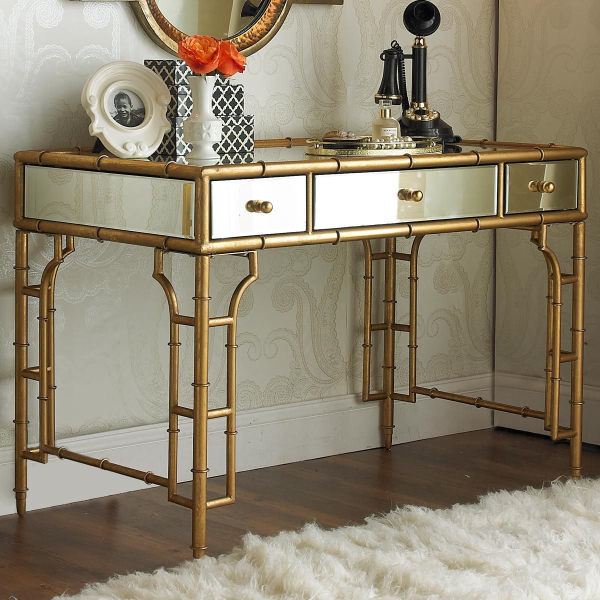 Metal Makeup Vanity Table Set Gold Bamboo And Mirror Vanity Desk More Mirror Glass