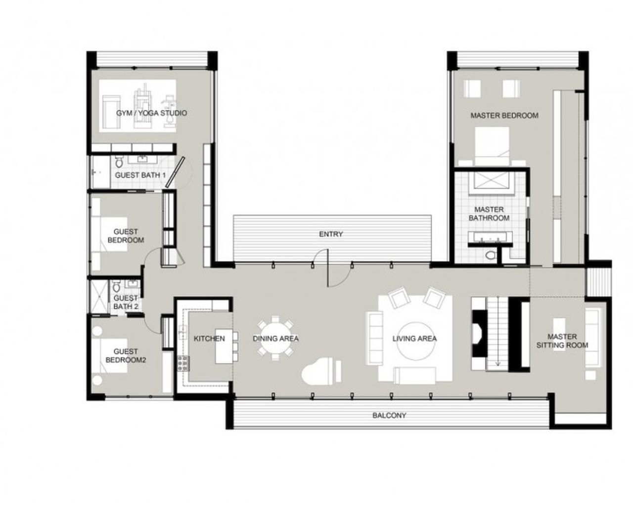 Best 25 u shaped house plans ideas on pinterest u shaped houses house plans with courtyard and 5 bedroom house plans
