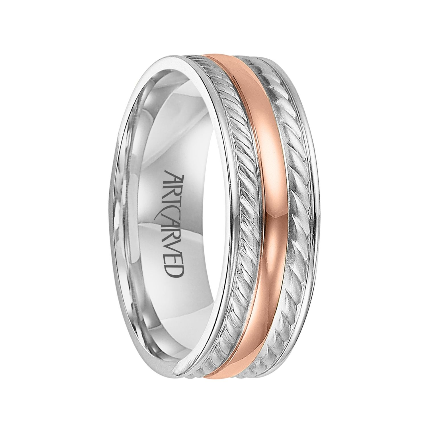 mens platinum wedding rings ArtCarved Rings DIXON Two Tone 14K White Gold Ring with Rose Wedding Rings Rose GoldMen