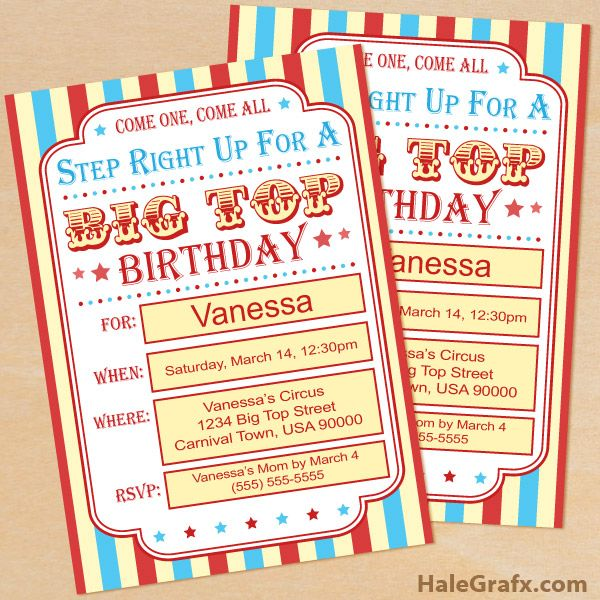Click here to download a FREE Printable Circus Carnival Birthday - circus party invitation