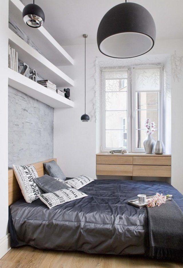 kleines schlafzimmer gestalten farben weiß hellgrau holzmöbel - kleines schlafzimmer ideen