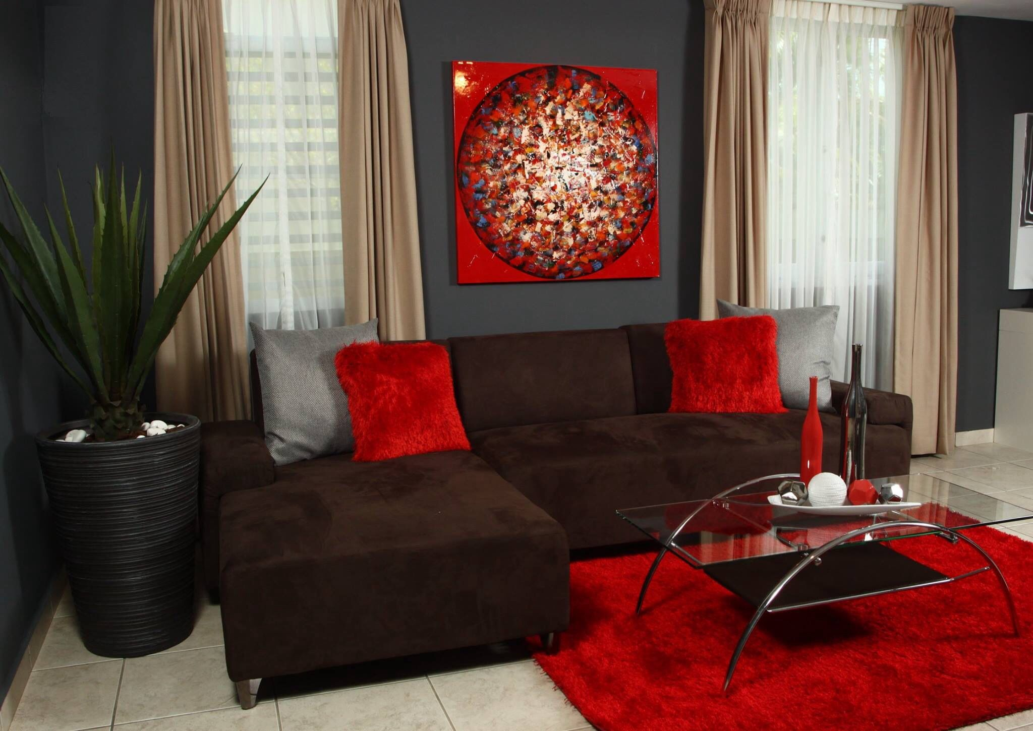Red decoration for living room love it
