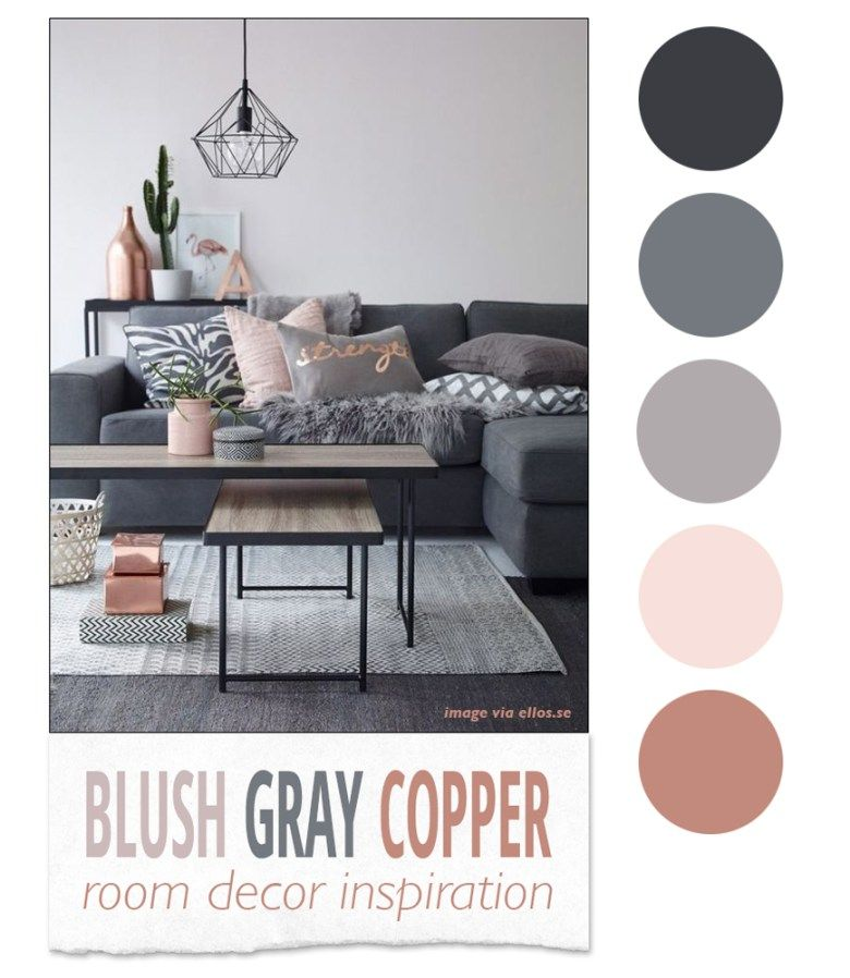 Blush Gray Copper Room Decor Inspiration Room decor, Interiors - home decor color palettes