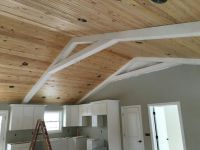 Red Farmhouse Tongue and groove vaulted ceiling with white ...
