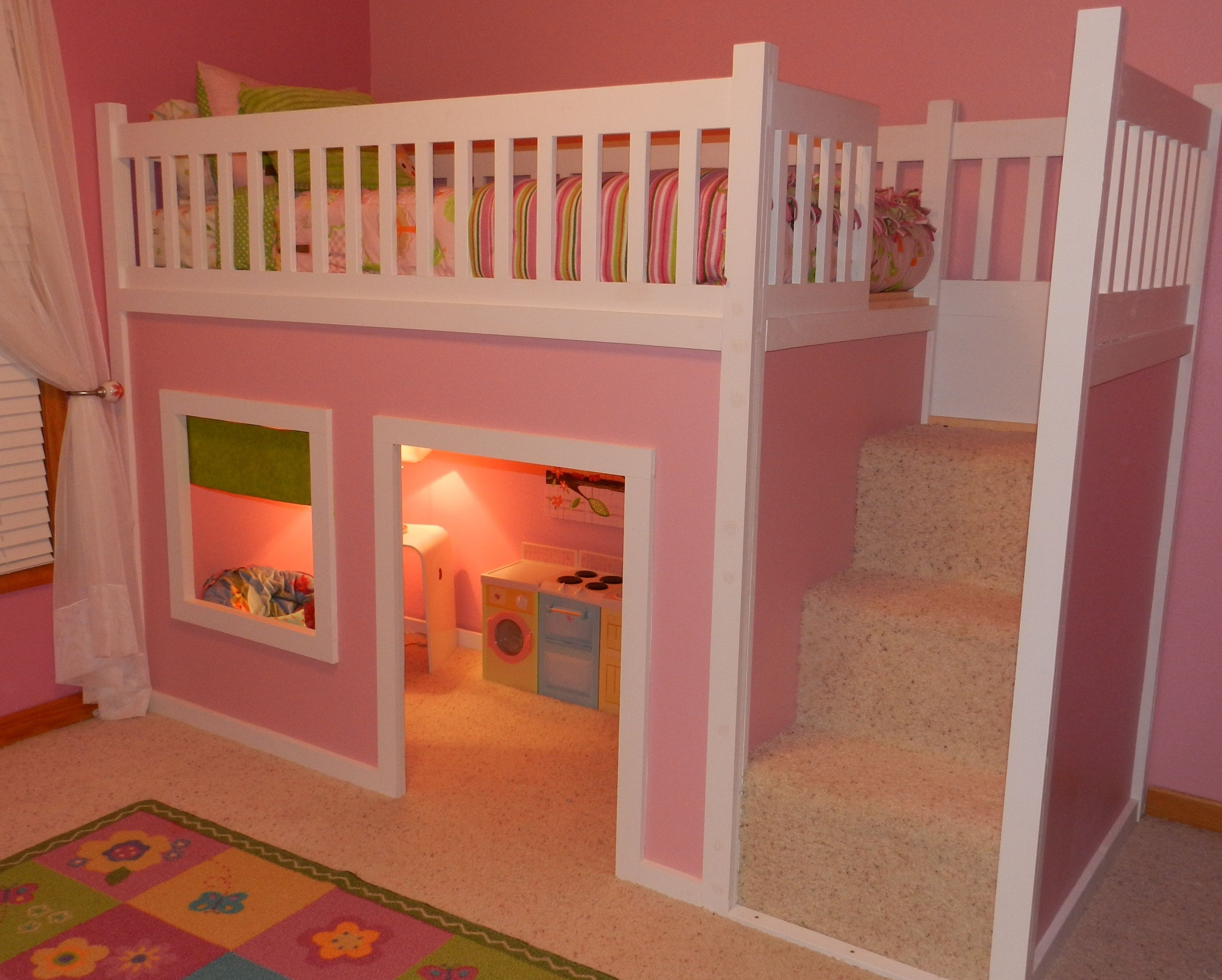 Playhouse loft bed with stairs do