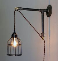 Industrial Style Wall Sconce - Iron pipe bracket with ...