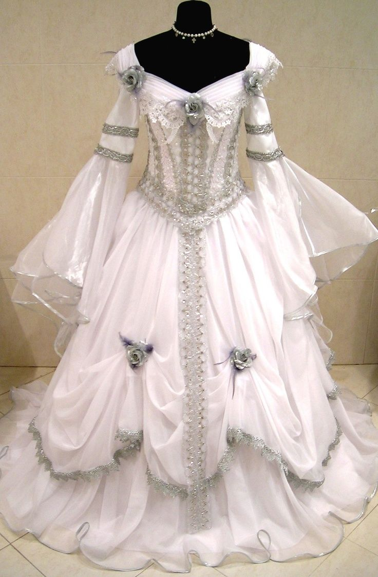 medieval wedding dress Silver Medieval Wedding Dress Victorian Goth Costume S m l 16 Renaissance X mas Lynci thinks this gown would be perfect for a costume party