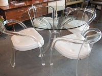 Vintage Lucite Furniture | Lucite & Glass Table & Four ...