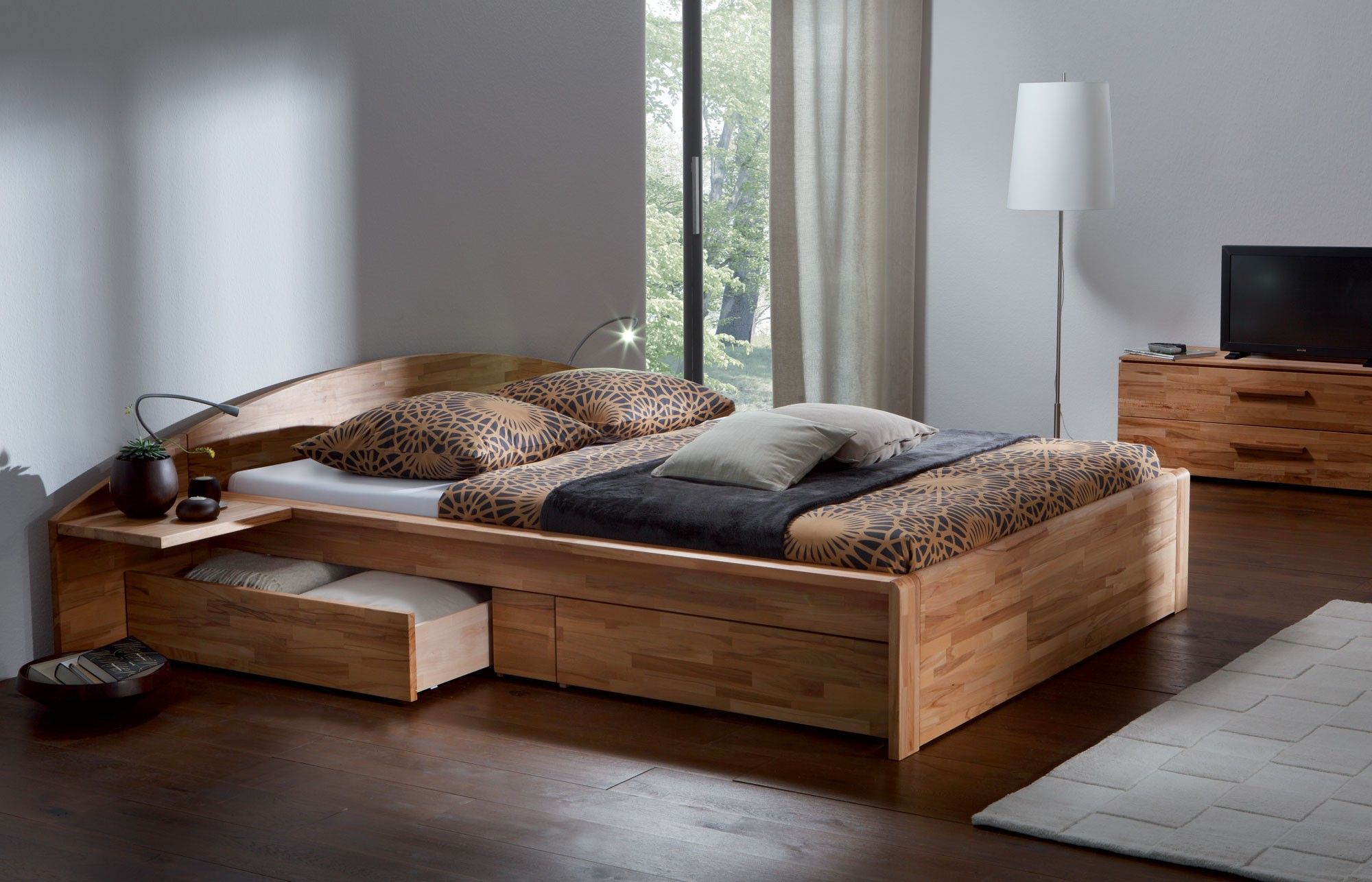 Wooden Beds Solid Heartbeech Natural Oiled Solid Wooden Bed Jpeg 2 000