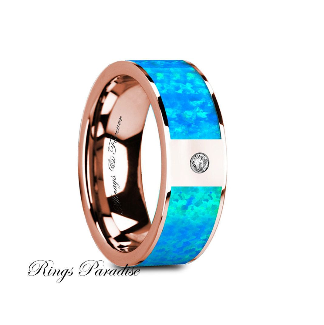 blue opal wedding rings Wedding Bands Blue Opal Inlay Ring Diamond Wedding Bands Flat Polished 14K Rose