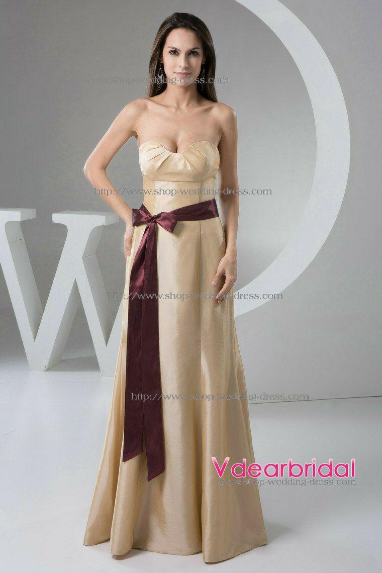 champagne colored wedding dress Elegant A Line Sweetheart Empire Waist Floor Length Taffeta Champagne Bridesmaid Dresses WD4 by