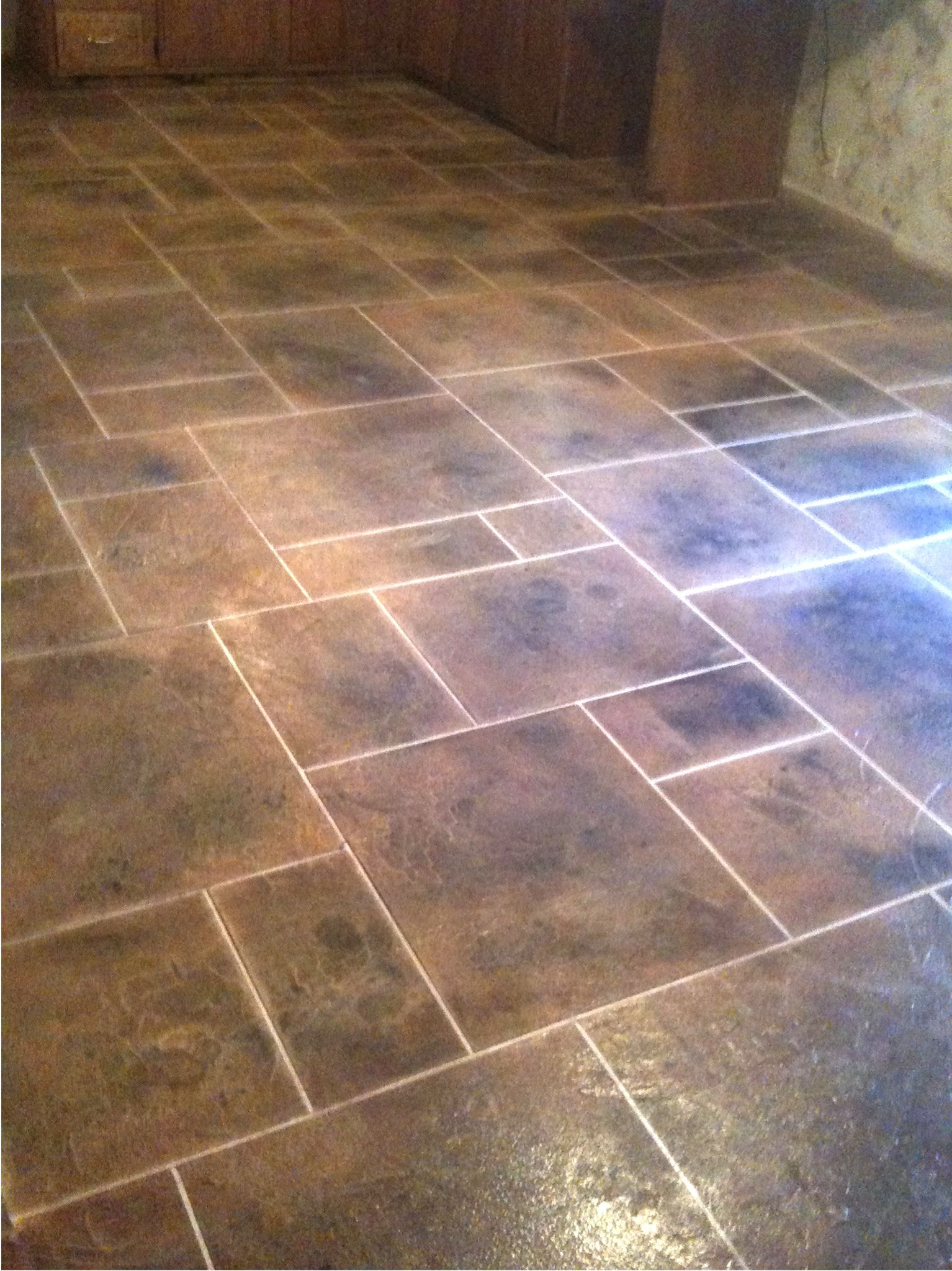 flooring for kitchen Kitchen Floor Tile Patterns concrete overlay random pattern stone tile kitchen floor
