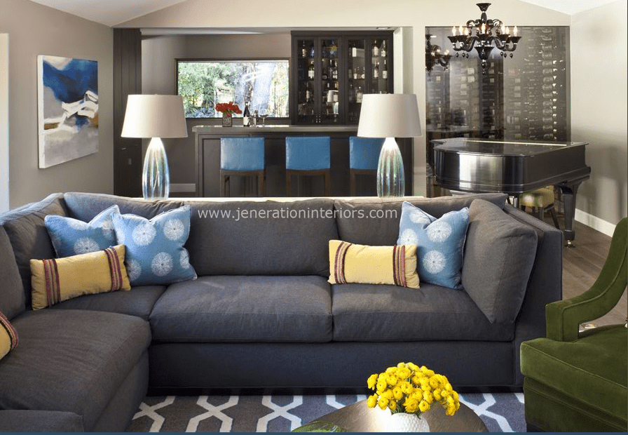 grey carpet with grey couch. Loden green accent chair with