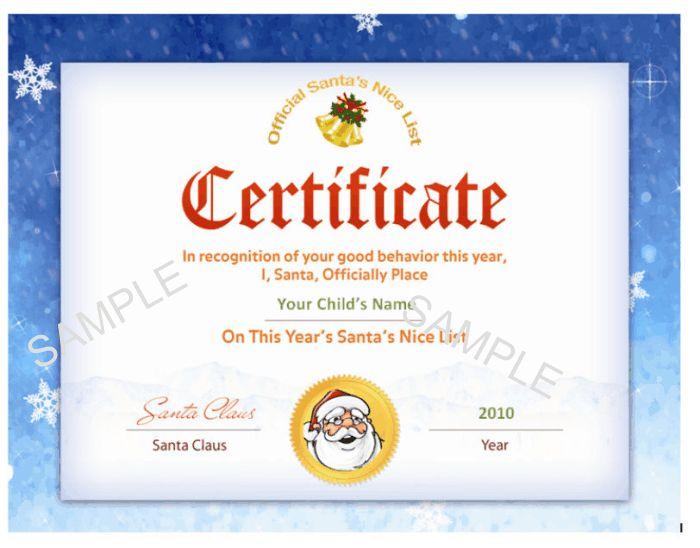 santa NICE LIST CERTIFICATES Printable Santau0027s Nice List - christmas certificates templates for word