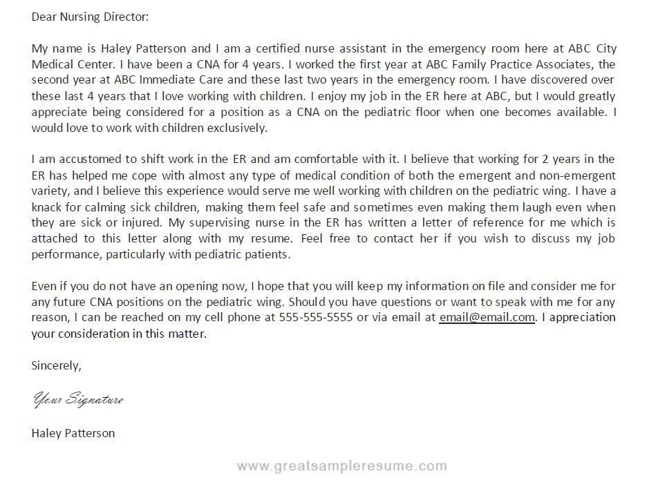 Professional CNA Resume Samples Professional CNA Cover Letter - cna resume template