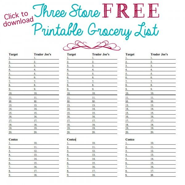 Organized Grocery List Grocery lists, Anna and Free printable - printable grocery list template