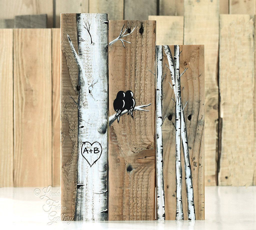 Art Painted On Wood Rustic Farmhouse Style Love Birds On Birch Tree Painting