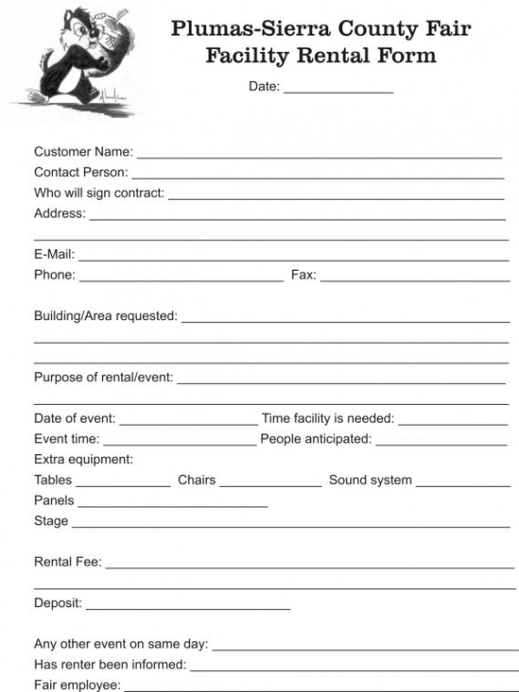Facility Rental Form - - facility rental contract Legal - rent contract templates