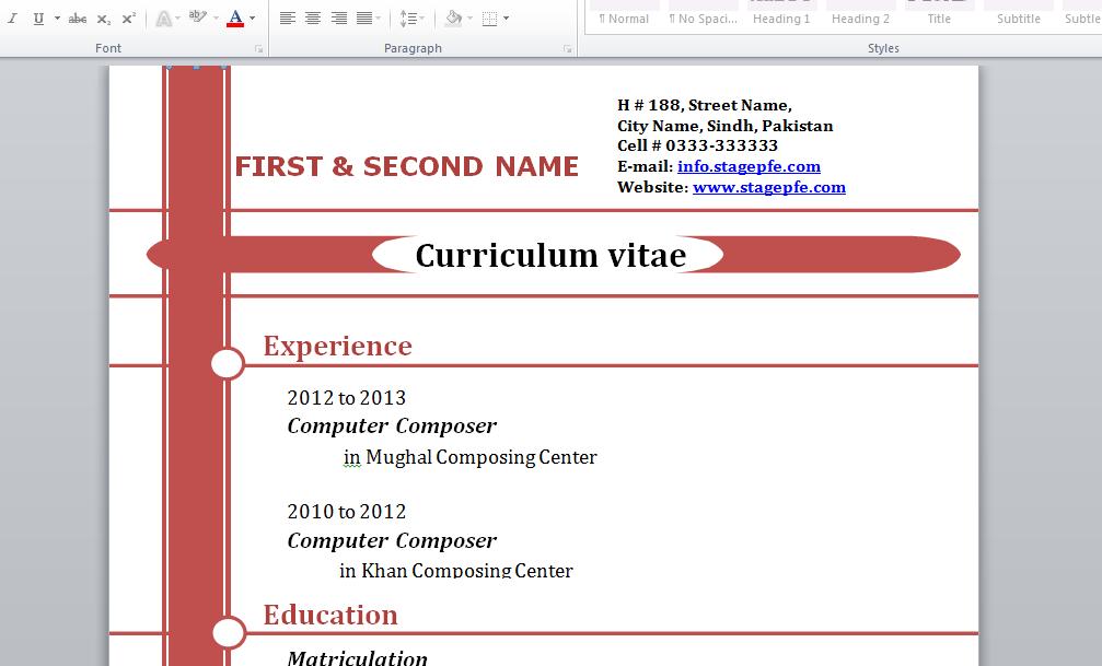 cv professionnel gratuit doc