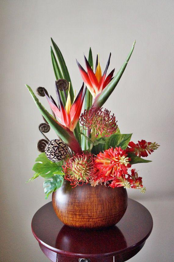 Floral Arrangements, Birds Of Paradise, Protea, Home Decor, Silk - silk arrangements for home decor