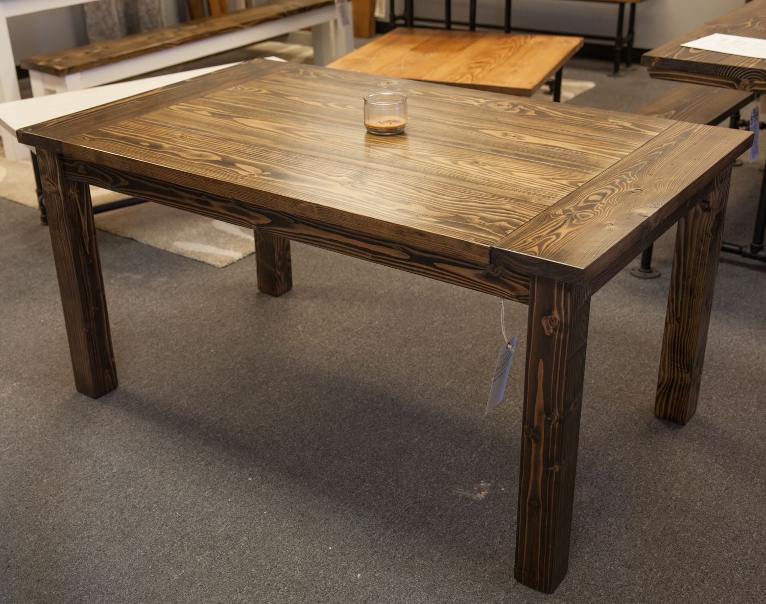 solid wood kitchen tables Solid wood farmhouse table with breadboards Distressed dark walnut top Kitchen table Dining