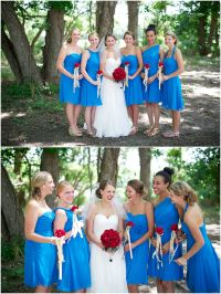 Alfred Angelo Marine Blue bridesmaid dresses and red roses ...