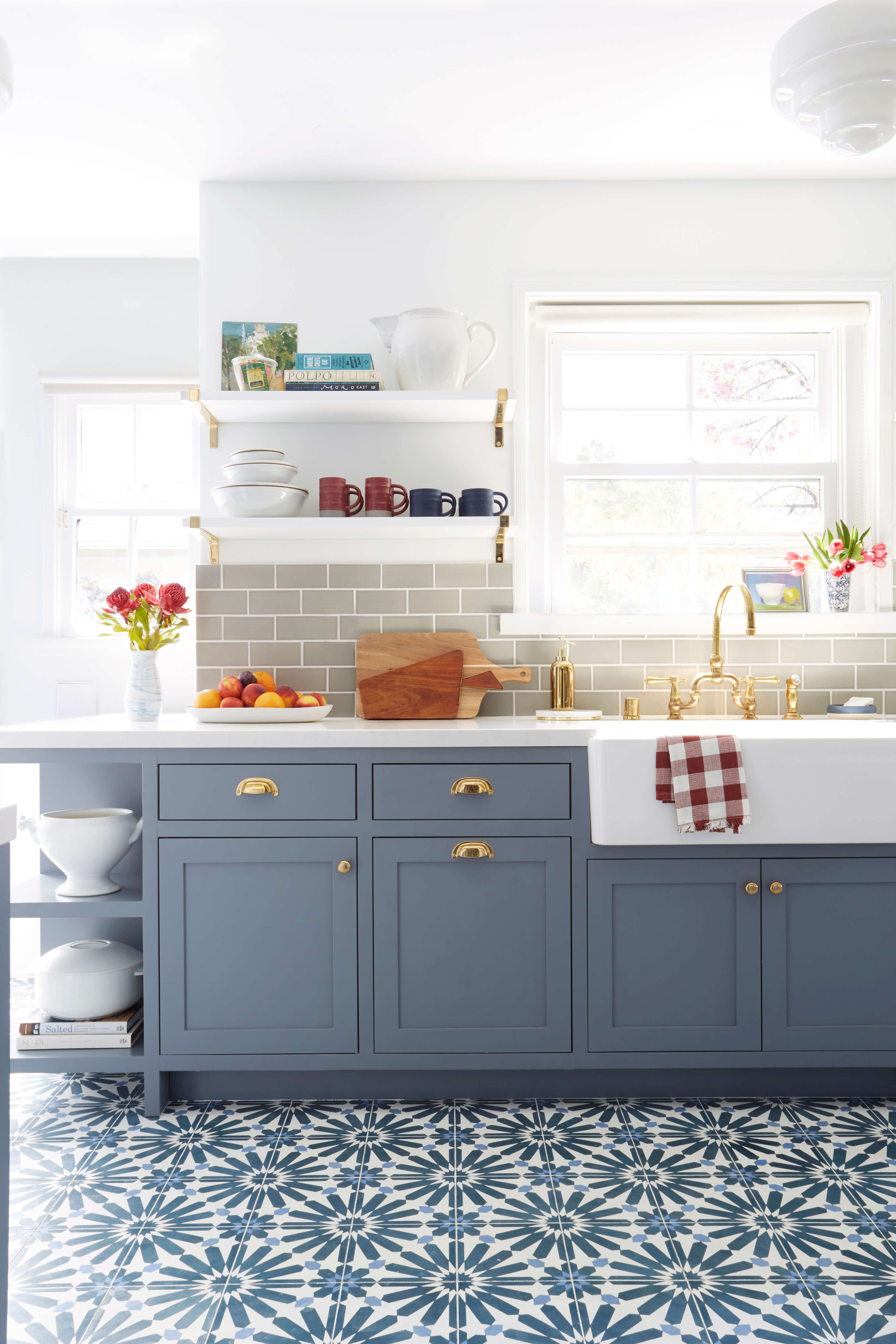 Blue Grey Kitchen Emily Henderson Blue Grey Kitchen With Concrete Tiles In