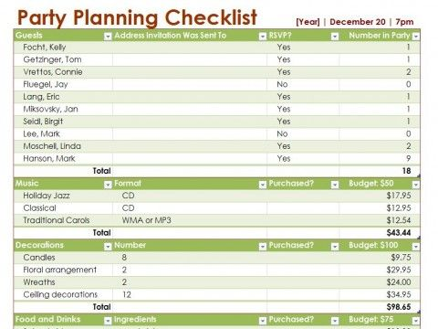 Party Planning Checklist Let me entertain you Pinterest - birthday planner template