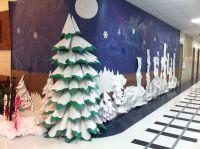 Paper 3d Christmas tree. Polar Express hallway decorations