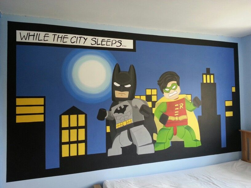 Lego batman and robin mural by me wwwfacebook\/JJmurals For - batman bedroom ideas
