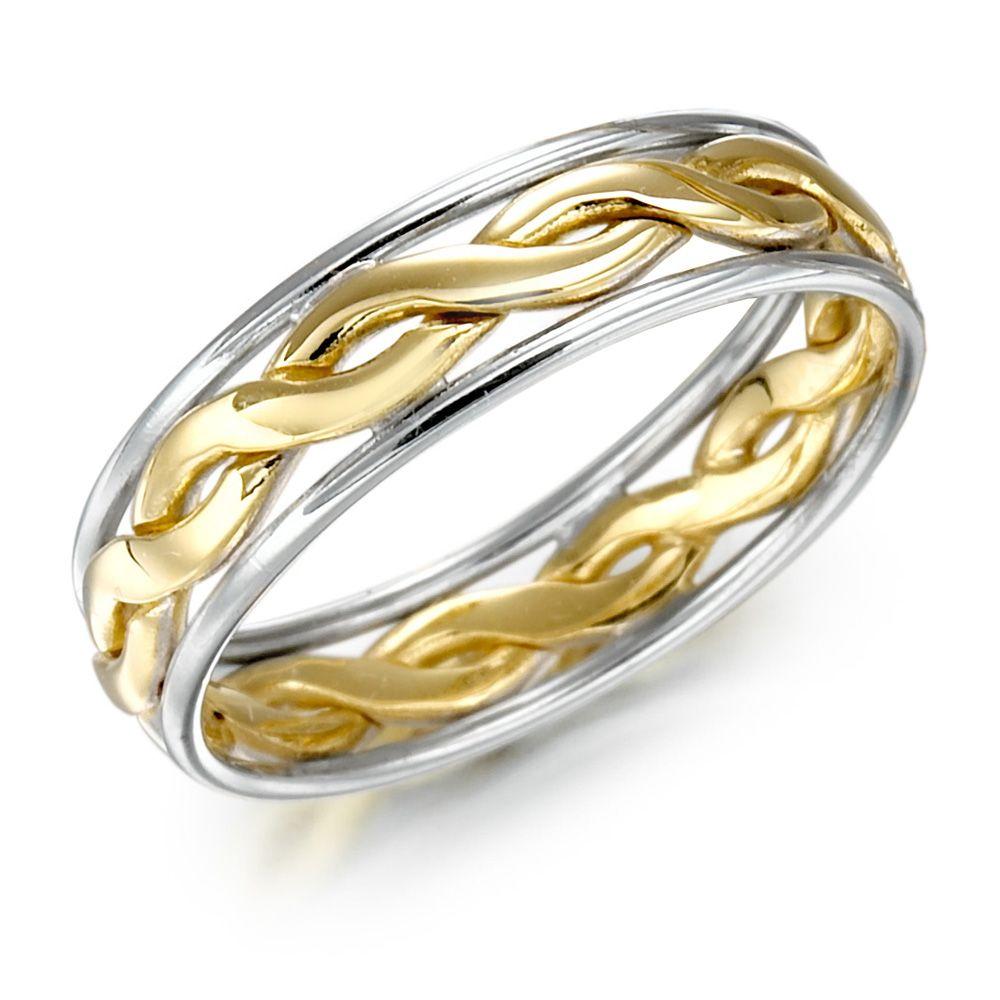 irish wedding rings Irish Wedding Ring Mens Gold Two Tone Celtic Knot Wedding Band