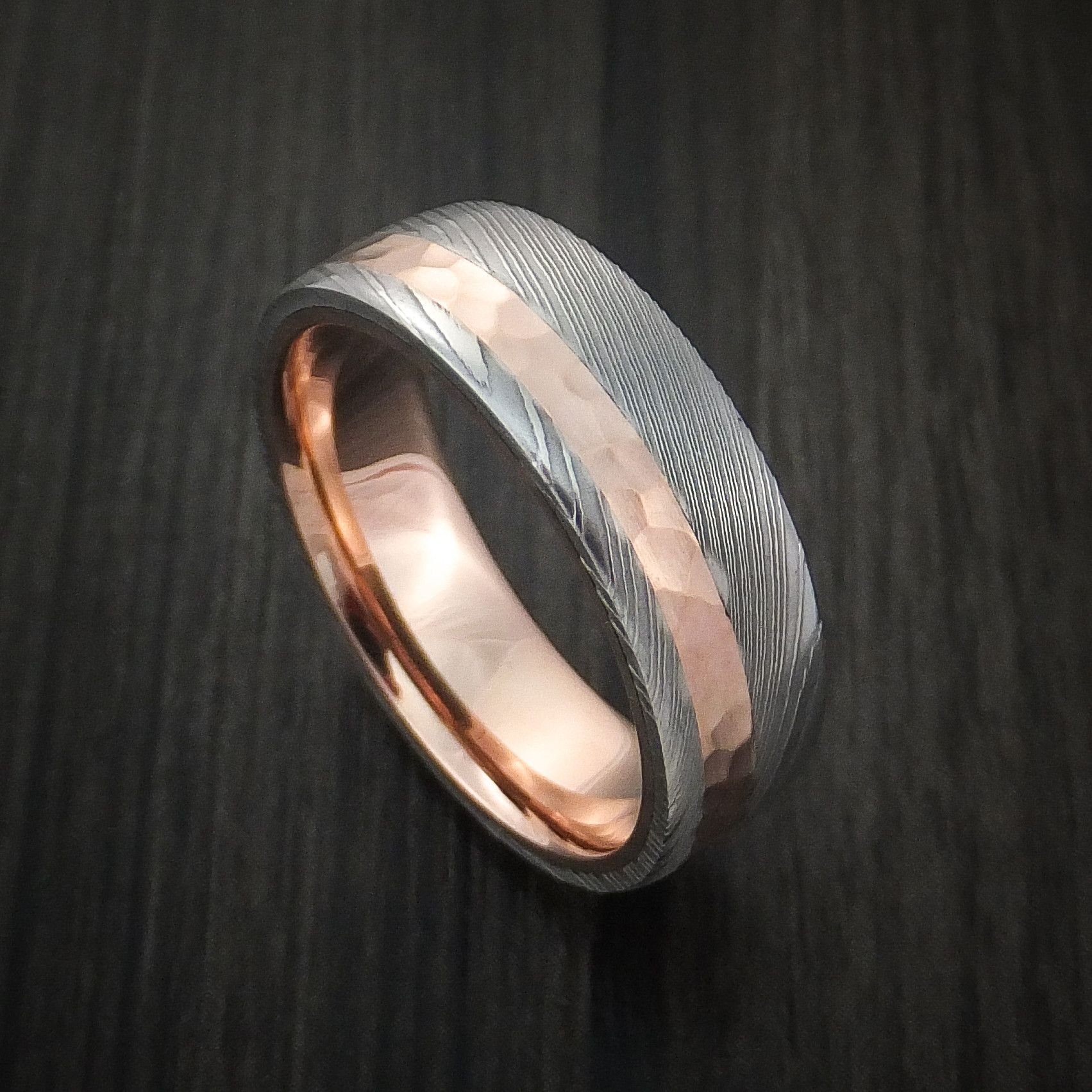 damascus steel wedding bands Damascus Steel Ring with 14K Rose Gold Hammered Inlay and Gold Sleeve Custom Made Band