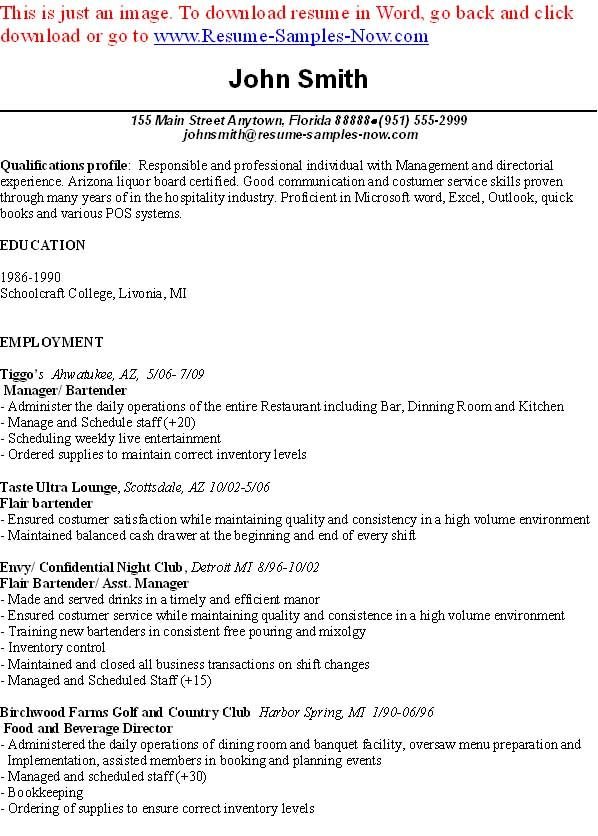 Sample Of Resume For Bartender I think you must be ready to get it - bartending resume templates