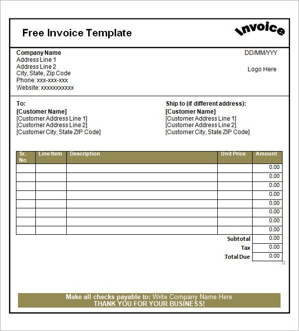 Blank Invoice Template invoice Pinterest - free invoice templets