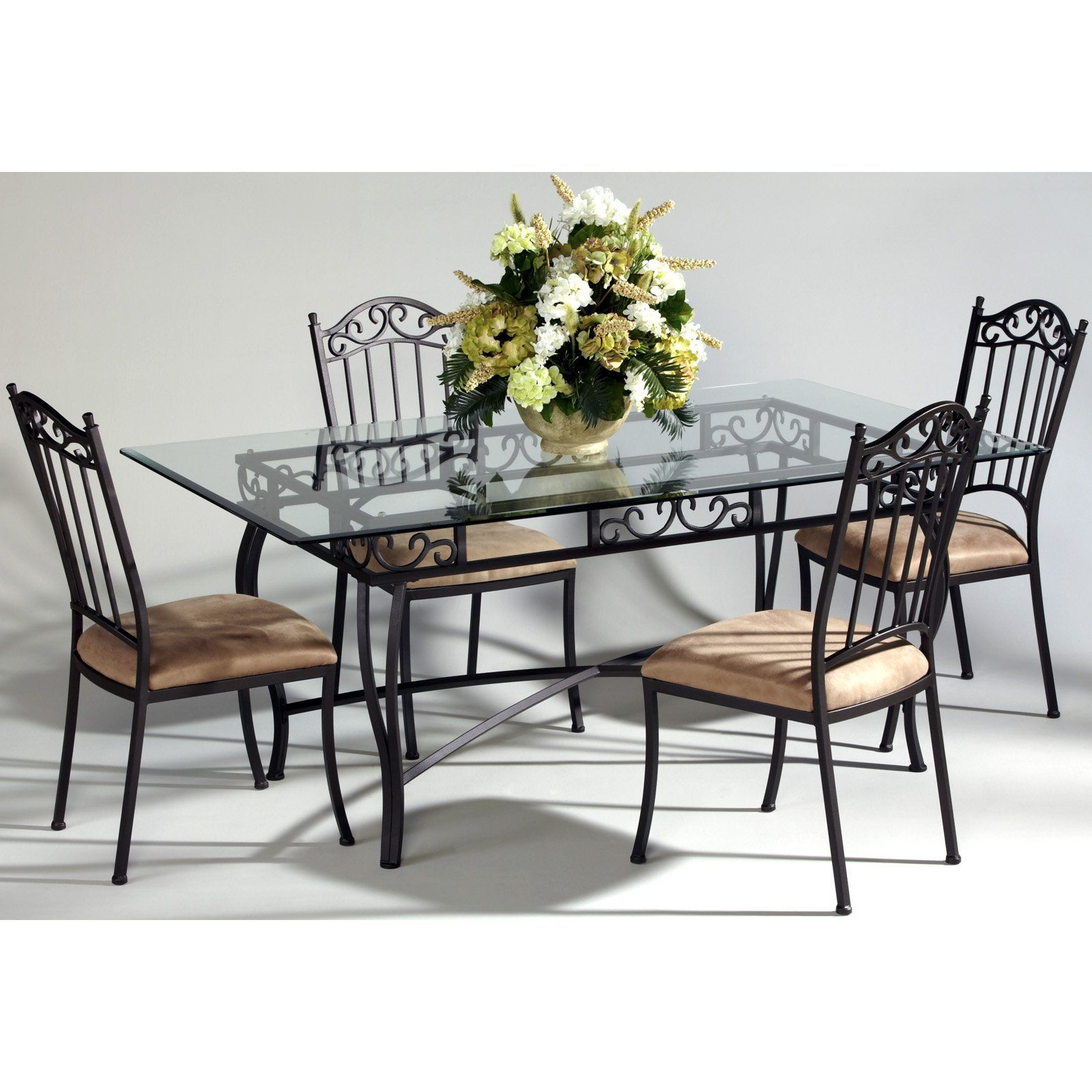 wrought iron kitchen chairs Chintaly Bethel 5 Piece Rectangular Wrought Iron Dining Table Set 32