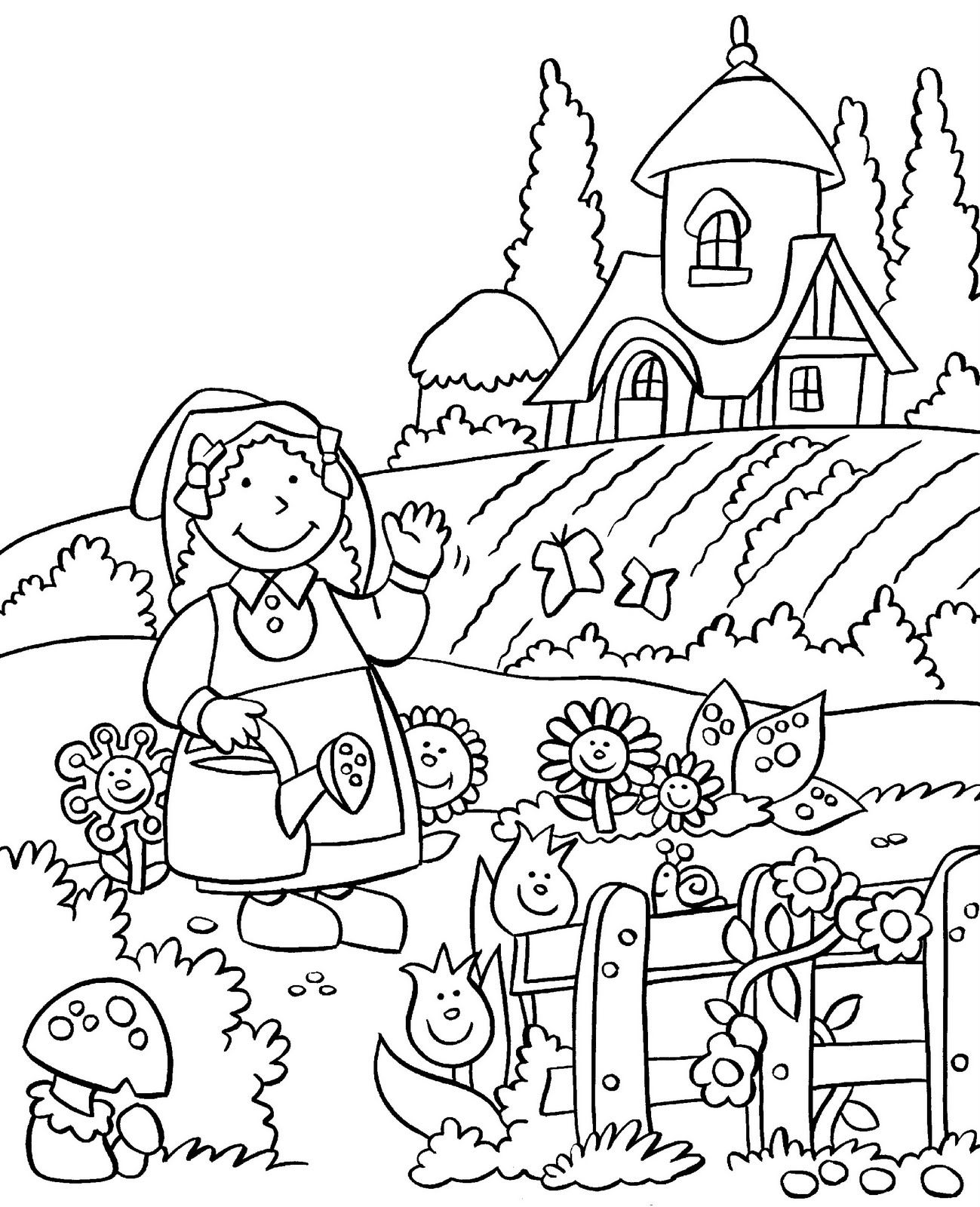 Gardening coloring page for kids