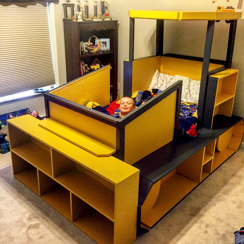 DIY Kids bulldozer twin bed