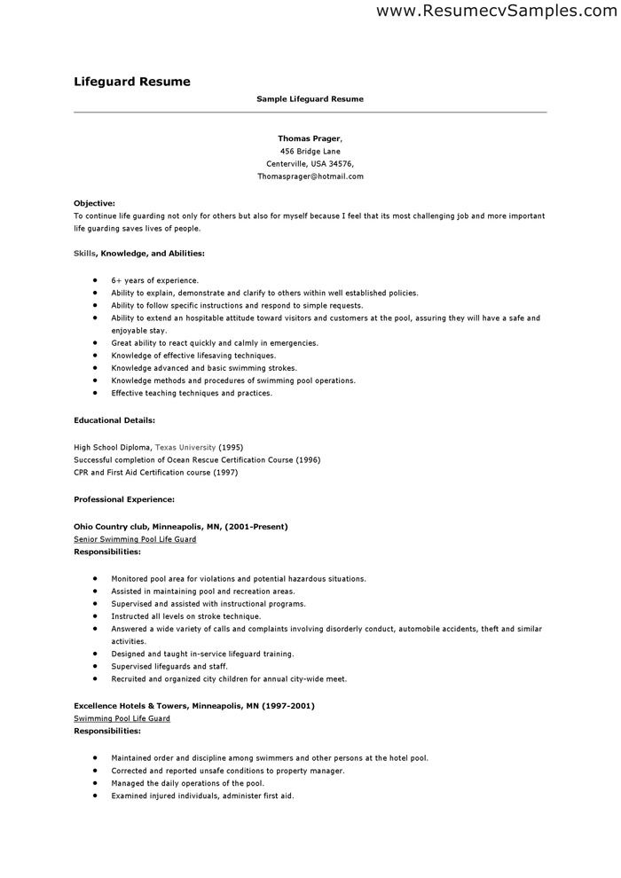 Lifeguard eperience Resume Be Professional Pinterest - lifeguard cover letter