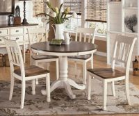 White & Brown round farmhouse dining table | Robertson ...
